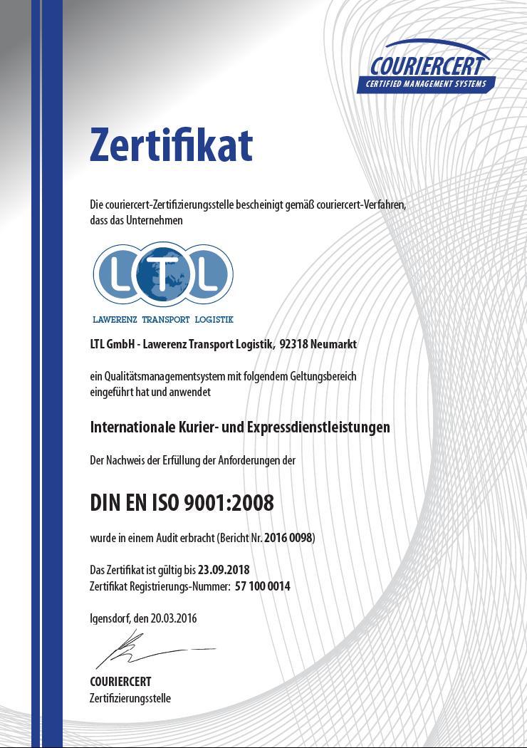 LTL Lawerenz Transport Logistik GmbH 0049 9181- 4061231 - Zertifikate
